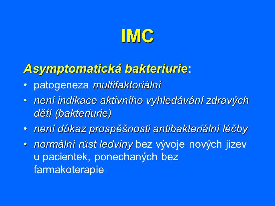 IMC Asymptomatická bakteriurie Asymptomatická bakteriurie: multifaktoriálnípatogeneza multifaktoriální není indikace aktivního vyhledávání zdravých dě