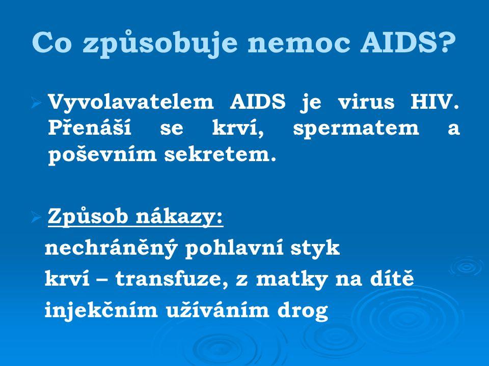 Co způsobuje nemoc AIDS.  Vyvolavatelem AIDS je virus HIV.