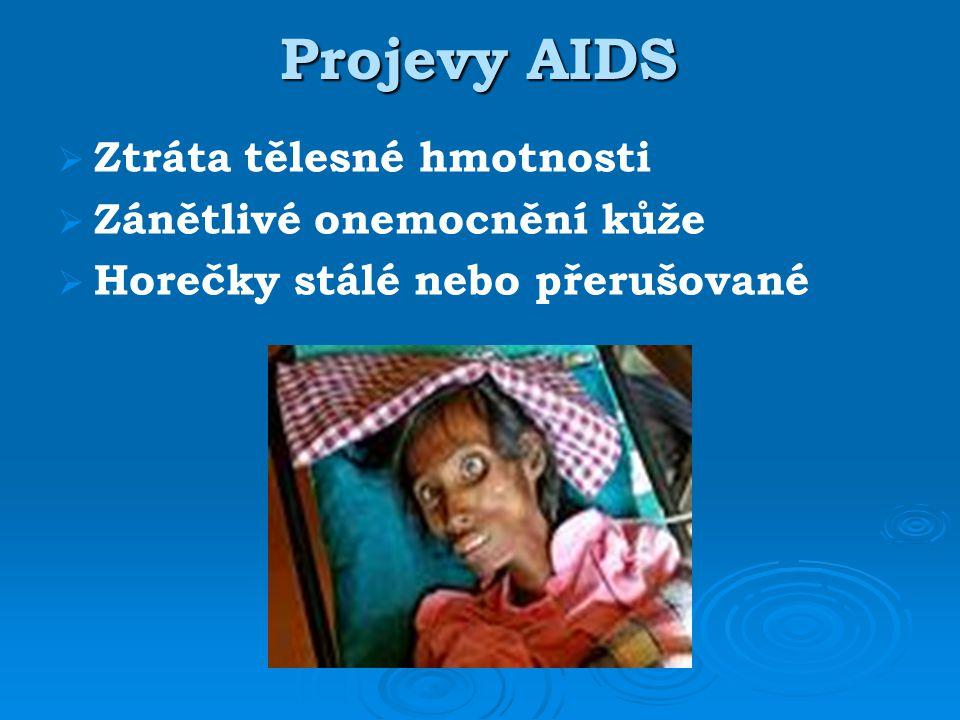 Projevy AIDS   Ztráta tělesné hmotnosti   Zánětlivé onemocnění kůže   Horečky stálé nebo přerušované