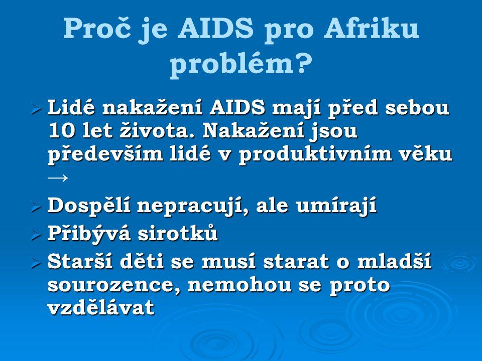 Proč je AIDS pro Afriku problém. Lidé nakažení AIDS mají před sebou 10 let života.