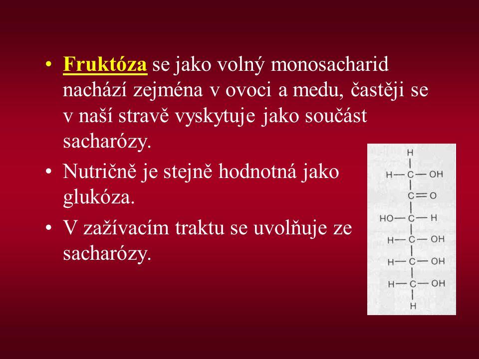 Fruktóza se jako volný monosacharid nachází zejména v ovoci a medu, častěji se v naší stravě vyskytuje jako součást sacharózy. Nutričně je stejně hodn