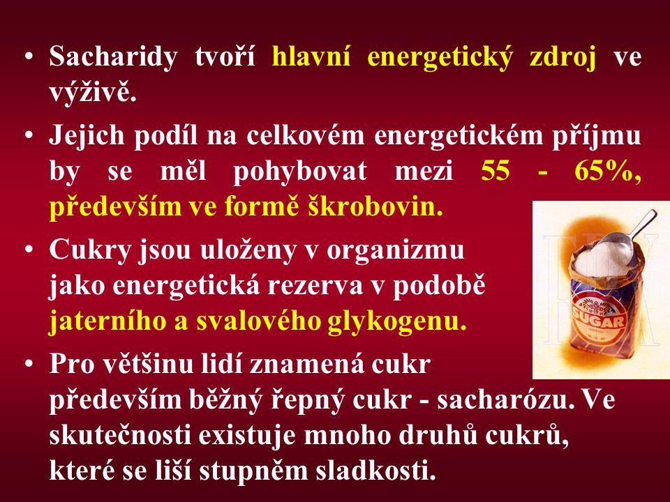 Sacharidy tvoří hlavní energetický zdroj ve výživě. Jejich podíl na celkovém energetickém příjmu by se měl pohybovat mezi 55 - 65%, především ve formě