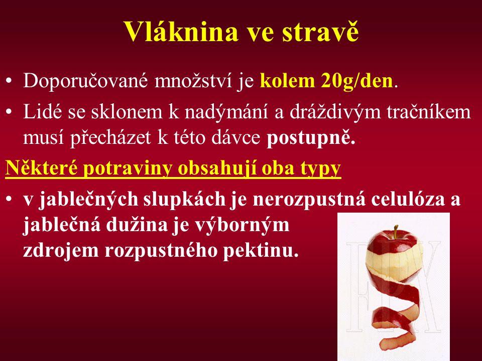 Vláknina ve stravě Doporučované množství je kolem 20g/den. Lidé se sklonem k nadýmání a dráždivým tračníkem musí přecházet k této dávce postupně. Někt