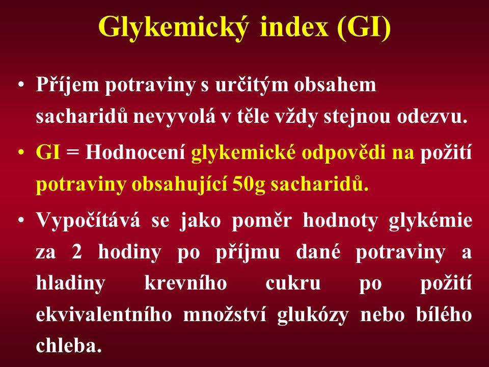 Glykemický index (GI) Příjem potraviny s určitým obsahem sacharidů nevyvolá v těle vždy stejnou odezvu. GI = Hodnocení glykemické odpovědi na požití p