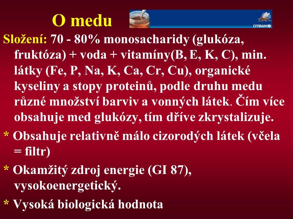 O medu Složení: 70 - 80% monosacharidy (glukóza, fruktóza) + voda + vitamíny(B, E, K, C), min. látky (Fe, P, Na, K, Ca, Cr, Cu), organické kyseliny a