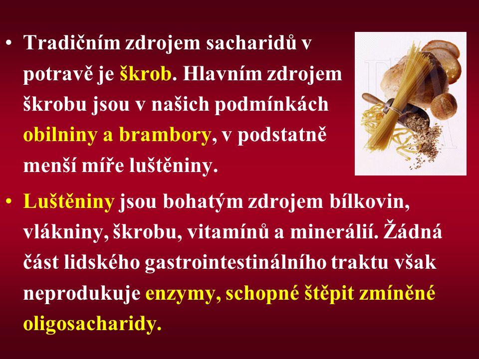 Tradičním zdrojem sacharidů v potravě je škrob. Hlavním zdrojem škrobu jsou v našich podmínkách obilniny a brambory, v podstatně menší míře luštěniny.