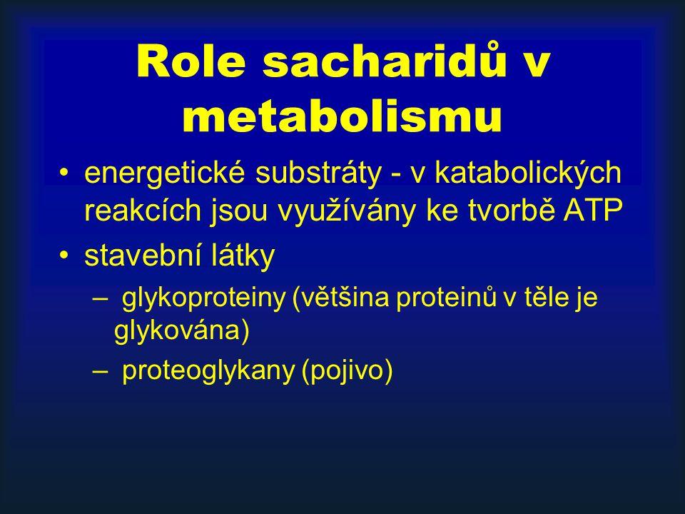 Role sacharidů v metabolismu energetické substráty - v katabolických reakcích jsou využívány ke tvorbě ATP stavební látky – glykoproteiny (většina pro