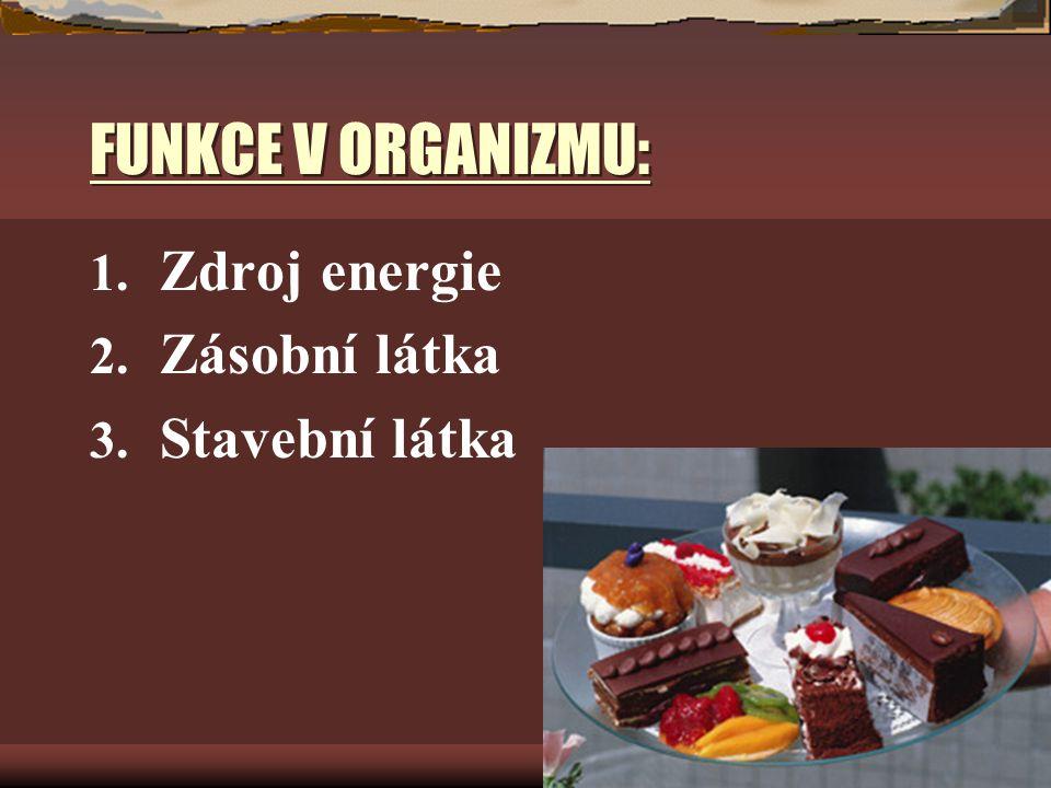FUNKCE V ORGANIZMU: 1. Zdroj energie 2. Zásobní látka 3. Stavební látka