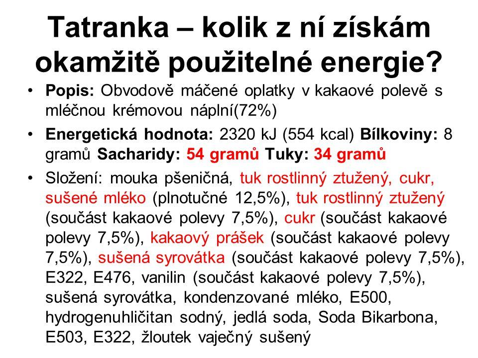 Tatranka – kolik z ní získám okamžitě použitelné energie? Popis: Obvodově máčené oplatky v kakaové polevě s mléčnou krémovou náplní(72%) Energetická h