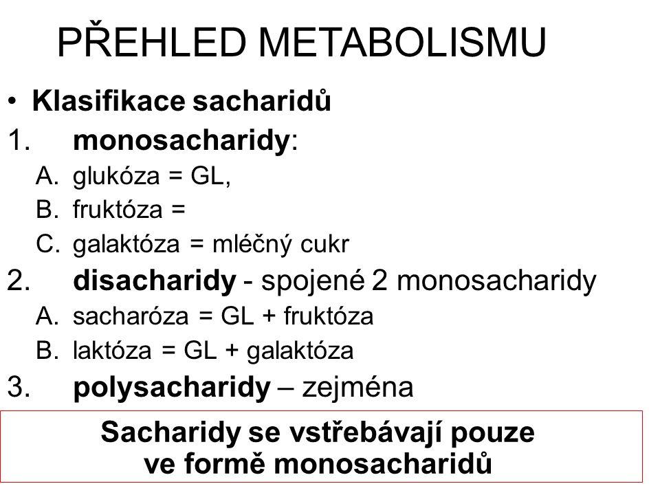 Klasifikace sacharidů 1.monosacharidy: A.glukóza = GL, B.fruktóza = C.galaktóza = mléčný cukr 2.disacharidy - spojené 2 monosacharidy A.sacharóza = GL + fruktóza B.laktóza = GL + galaktóza 3.polysacharidy – zejména PŘEHLED METABOLISMU Sacharidy se vstřebávají pouze ve formě monosacharidů