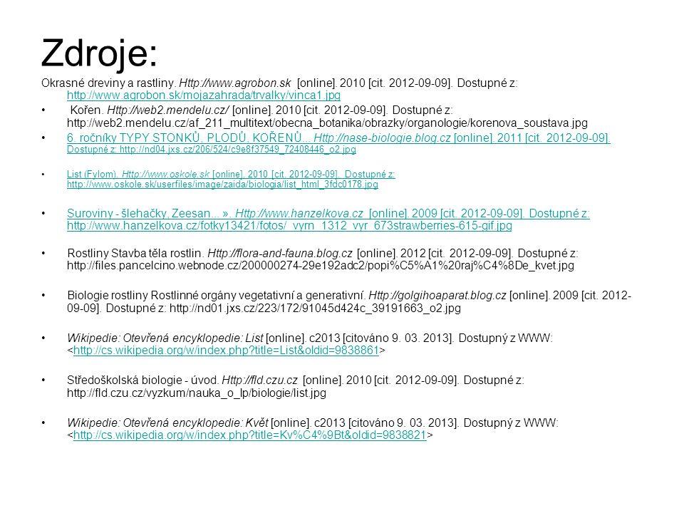 Zdroje: Okrasné dreviny a rastliny. Http://www.agrobon.sk [online]. 2010 [cit. 2012-09-09]. Dostupné z: http://www.agrobon.sk/mojazahrada/trvalky/vinc