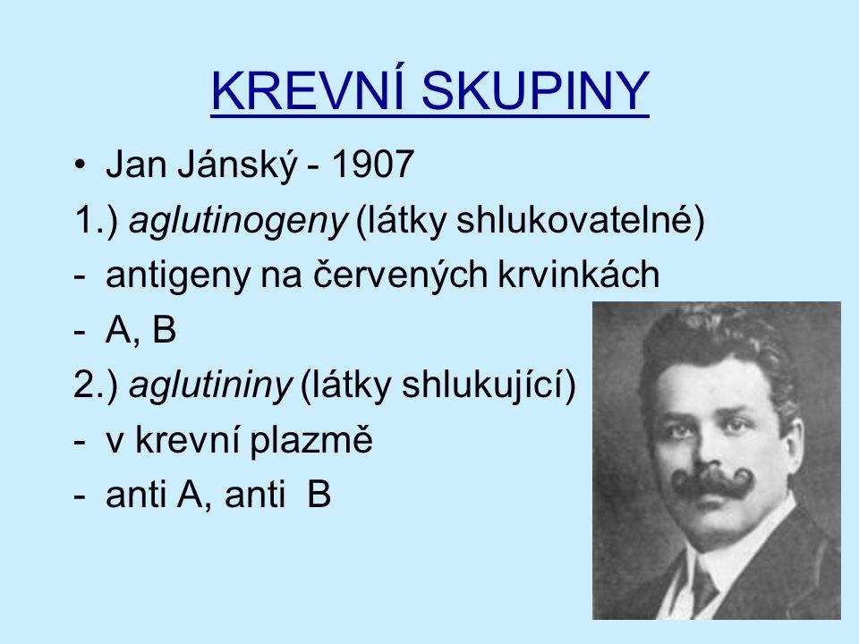 KREVNÍ SKUPINY Jan Jánský - 1907 1.) aglutinogeny (látky shlukovatelné) -antigeny na červených krvinkách -A, B 2.) aglutininy (látky shlukující) -v krevní plazmě -anti A, anti B
