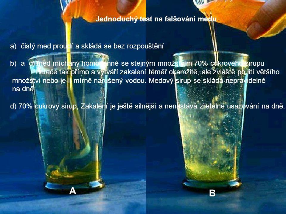 Jednoduchý test na falšování medu a)čistý med proudí a skládá se bez rozpouštění b)a c) med míchaný homogenně se stejným množstvím 70% cukrového sirup