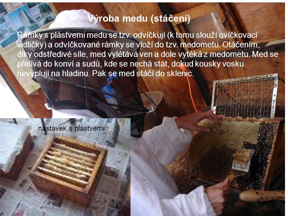 Výroba medu (stáčení) Rámky s plástvemi medu se tzv. odvíčkují (k tomu slouží ovíčkovací vidličky) a odvíčkované rámky se vloží do tzv. medometu. Otáč