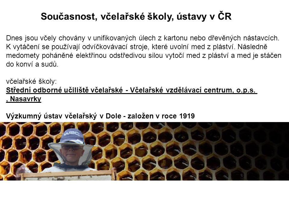 Současnost, včelařské školy, ústavy v ČR Dnes jsou včely chovány v unifikovaných úlech z kartonu nebo dřevěných nástavcích. K vytáčení se používají od