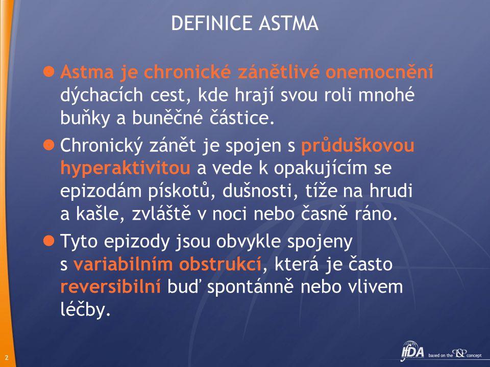 2 DEFINICE ASTMA Astma je chronické zánětlivé onemocnění dýchacích cest, kde hrají svou roli mnohé buňky a buněčné částice.