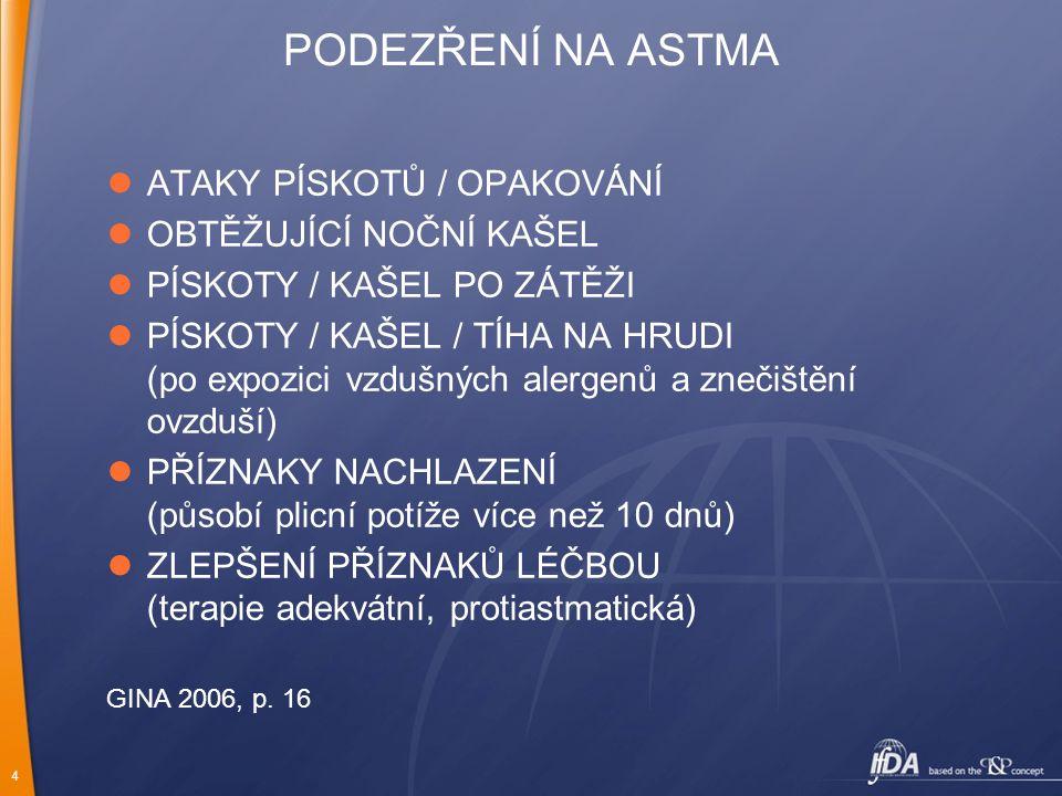 4 PODEZŘENÍ NA ASTMA ATAKY PÍSKOTŮ / OPAKOVÁNÍ OBTĚŽUJÍCÍ NOČNÍ KAŠEL PÍSKOTY / KAŠEL PO ZÁTĚŽI PÍSKOTY / KAŠEL / TÍHA NA HRUDI (po expozici vzdušných alergenů a znečištění ovzduší) PŘÍZNAKY NACHLAZENÍ (působí plicní potíže více než 10 dnů) ZLEPŠENÍ PŘÍZNAKŮ LÉČBOU (terapie adekvátní, protiastmatická) GINA 2006, p.