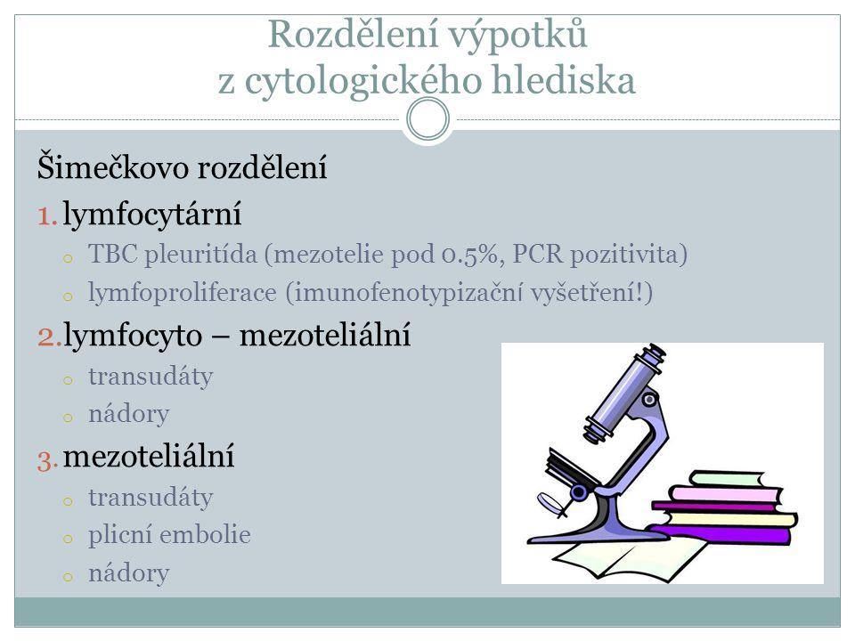 Rozdělení výpotků z cytologického hlediska Šimečkovo rozdělení 1.lymfocytární o TBC pleuritída (mezotelie pod 0.5%, PCR pozitivita) o lymfoproliferace (imunofenotypizačn í vyšetření!) 2.lymfocyto – mezoteliální o transudáty o nádory 3.
