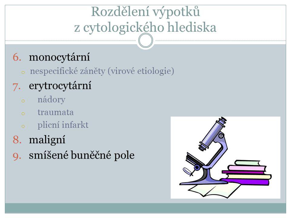 Rozdělení výpotků z cytologického hlediska 6.monocytární o nespecifické záněty (virové etiologie) 7.erytrocytární o nádory o traumata o plicní infarkt