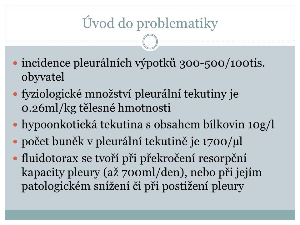 Základní dělení transudát (zvýšený hydrostatický nebo snížený onkotický tlak, snížený intrapleurální tlak – atelektáza, patologická komunikace) exsudát (zvýšená permeabilita kapilár, poškození cév – hemotorax, snížená lymfatická drenáž, patologická komunikace, postižení pleury) Typ výpotkuLightova kritériaPomocná kritéria CBV/SLDVLDV/ScholVcholV/SalbS-V transsudát‹ 0.5‹ 2/3 horní hranice v séru‹ 0.6‹ 1.55 mmol/l‹ 0.3› 12 g/l exsudát› 0.5› 2/3 horní hranice v séru› 0.6› 1.55 mmol/l› 0.3‹ 12 g/l K určení výpotku jako exsudátu stačí splnění 1 kritéria CB...celková bílkovina, LD...laktátdehydrogenáza, chol...cholesterol, alb...albumin, V...výpotek, S...sérum, V/S...index, S-V...gradient
