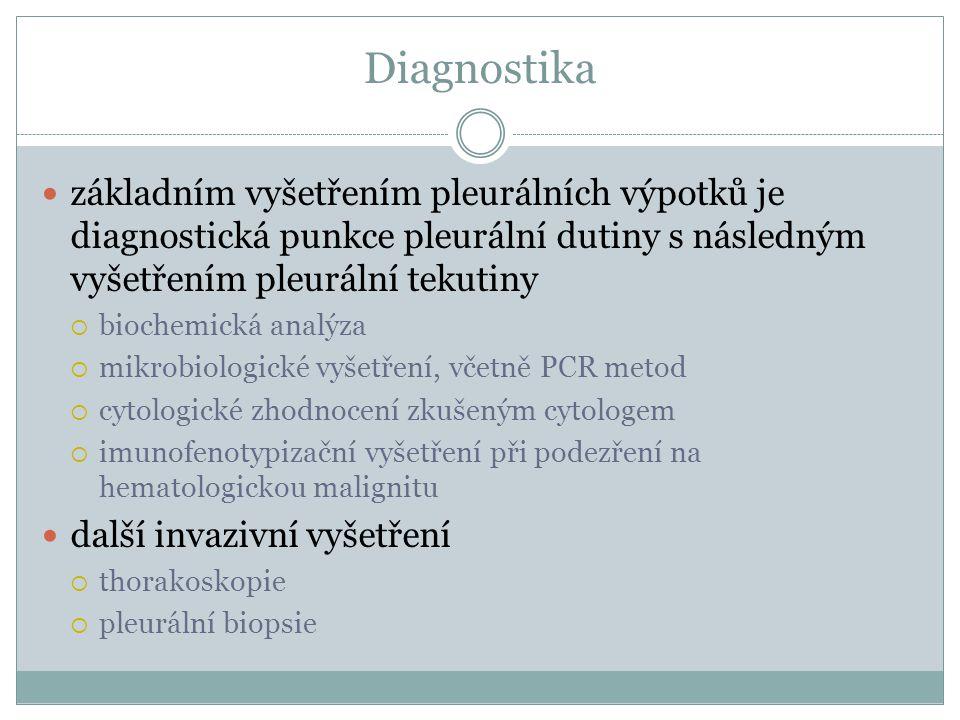 Diagnostika základním vyšetřením pleurálních výpotků je diagnostická punkce pleurální dutiny s následným vyšetřením pleurální tekutiny  biochemická a