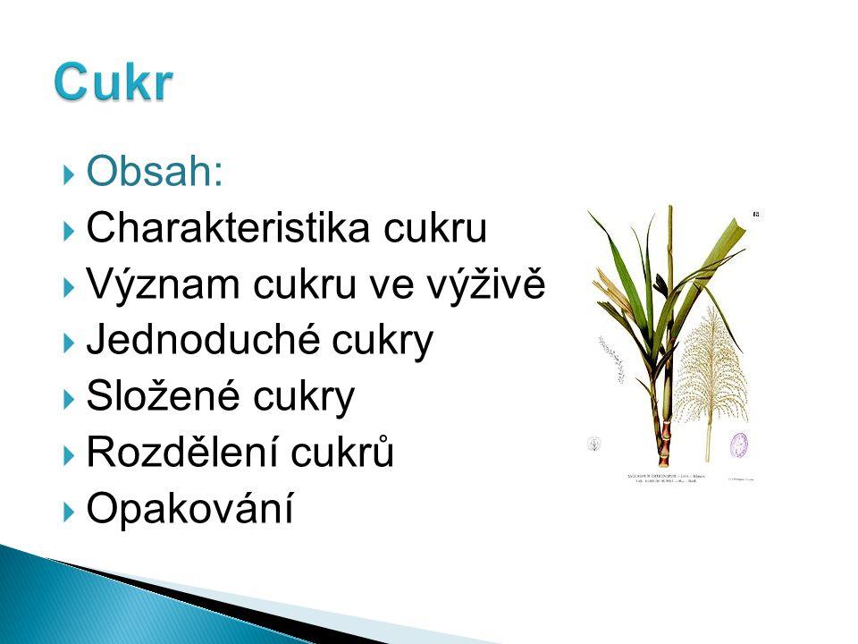  Obsah:  Charakteristika cukru  Význam cukru ve výživě  Jednoduché cukry  Složené cukry  Rozdělení cukrů  Opakování
