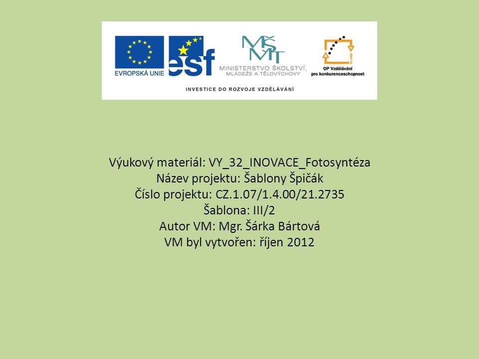 Výukový materiál: VY_32_INOVACE_Fotosyntéza Název projektu: Šablony Špičák Číslo projektu: CZ.1.07/1.4.00/21.2735 Šablona: III/2 Autor VM: Mgr.