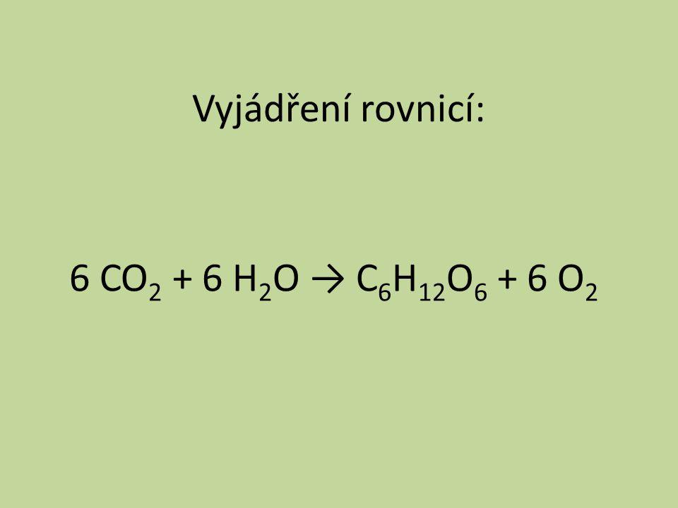 Vyjádření rovnicí: 6 CO 2 + 6 H 2 O → C 6 H 12 O 6 + 6 O 2