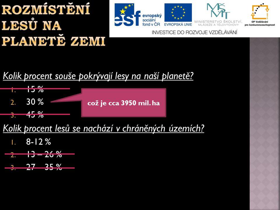 Kolik procent souše pokrývají lesy na naší planetě? 1. 15 % 2. 30 % 3. 45 % Kolik procent lesů se nachází v chráněných územích? 1. 8-12 % 2. 13 – 26 %
