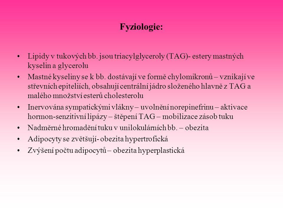Fyziologie: Lipidy v tukových bb. jsou triacylglyceroly (TAG)- estery mastných kyselin a glycerolu Mastné kyseliny se k bb. dostávají ve formě chylomi