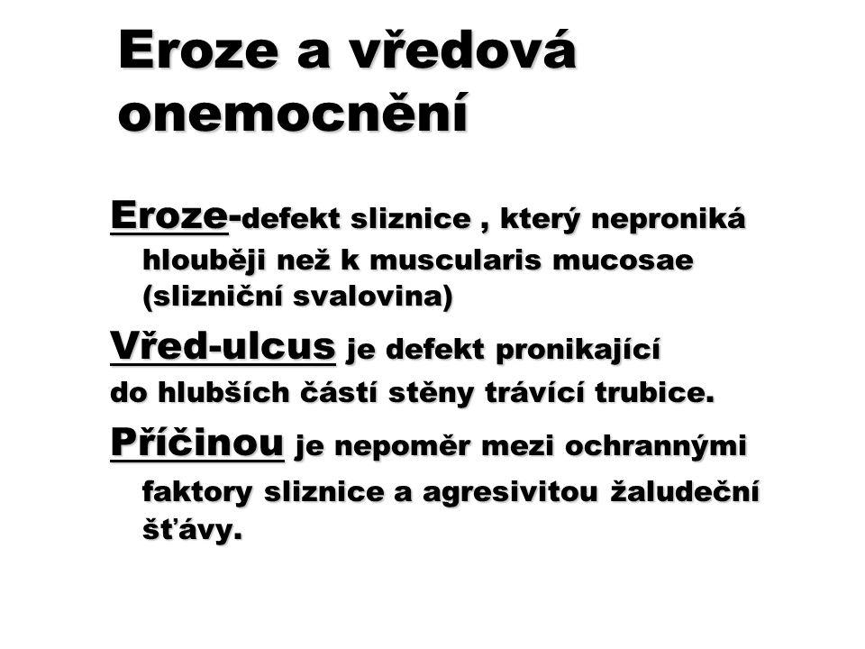 Eroze a vředová onemocnění Eroze- defekt sliznice, který neproniká hlouběji než k muscularis mucosae (slizniční svalovina) Vřed-ulcus je defekt pronik