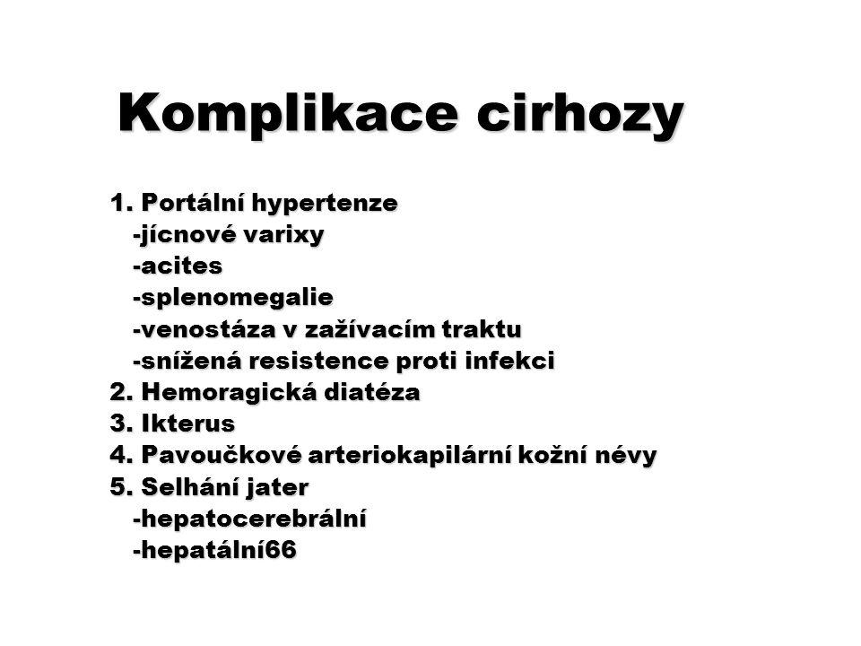 Komplikace cirhozy 1. Portální hypertenze -jícnové varixy -jícnové varixy -acites -acites -splenomegalie -splenomegalie -venostáza v zažívacím traktu