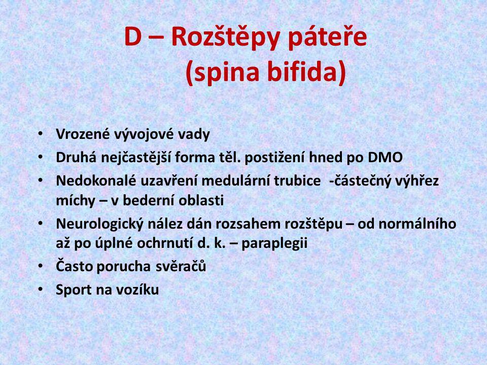D – Rozštěpy páteře (spina bifida) Vrozené vývojové vady Druhá nejčastější forma těl.