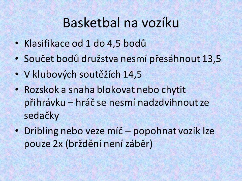 Basketbal na vozíku Klasifikace od 1 do 4,5 bodů Součet bodů družstva nesmí přesáhnout 13,5 V klubových soutěžích 14,5 Rozskok a snaha blokovat nebo chytit přihrávku – hráč se nesmí nadzdvihnout ze sedačky Dribling nebo veze míč – popohnat vozík lze pouze 2x (brždění není záběr)