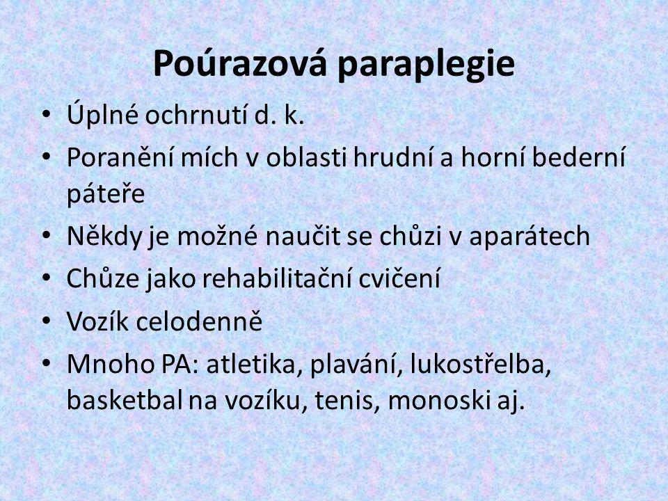 Poúrazová paraplegie Úplné ochrnutí d.k.