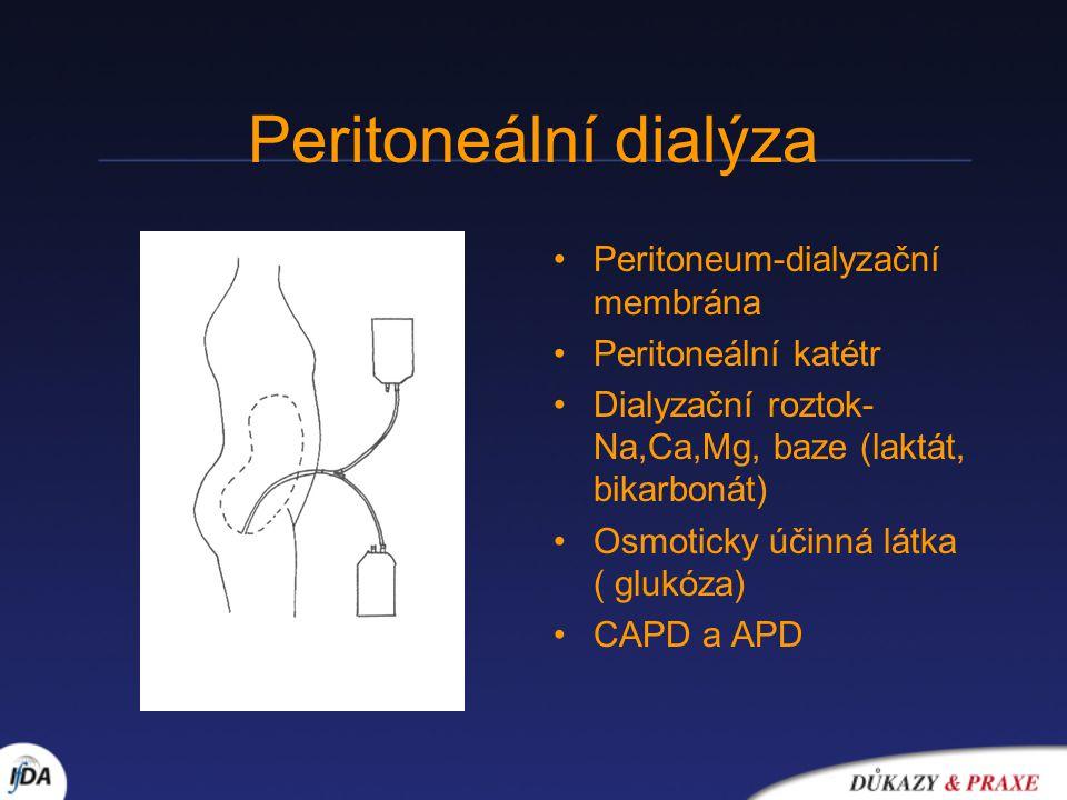 Peritoneum-dialyzační membrána Peritoneální katétr Dialyzační roztok- Na,Ca,Mg, baze (laktát, bikarbonát) Osmoticky účinná látka ( glukóza) CAPD a APD