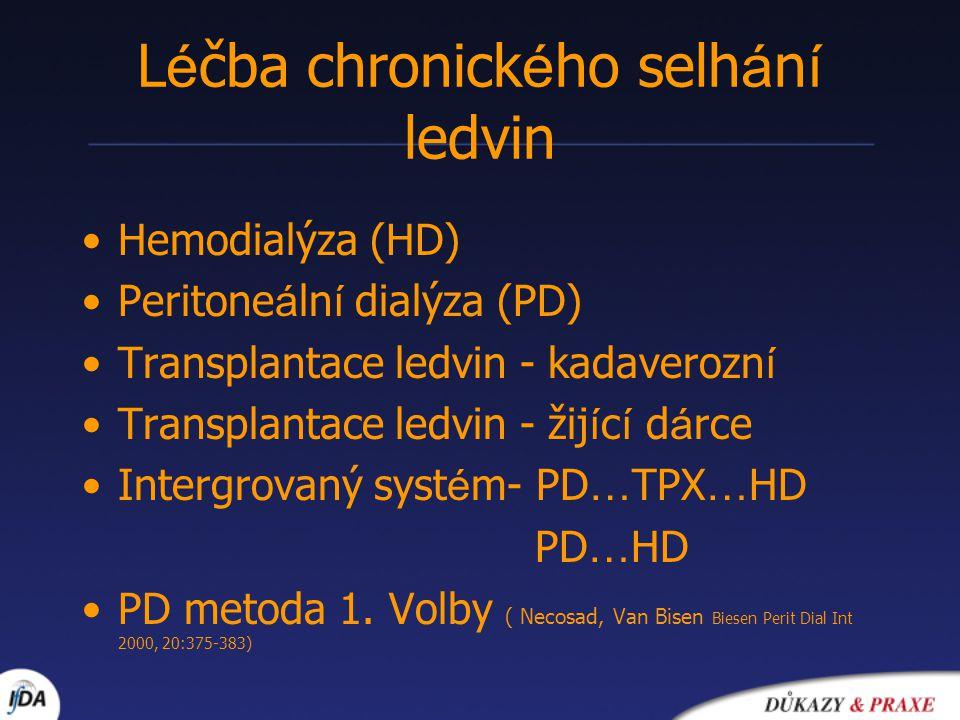 L é čba chronick é ho selh á n í ledvin Hemodialýza (HD) Peritone á ln í dialýza (PD) Transplantace ledvin - kadaverozn í Transplantace ledvin - žij í c í d á rce Intergrovaný syst é m- PD … TPX … HD PD … HD PD metoda 1.