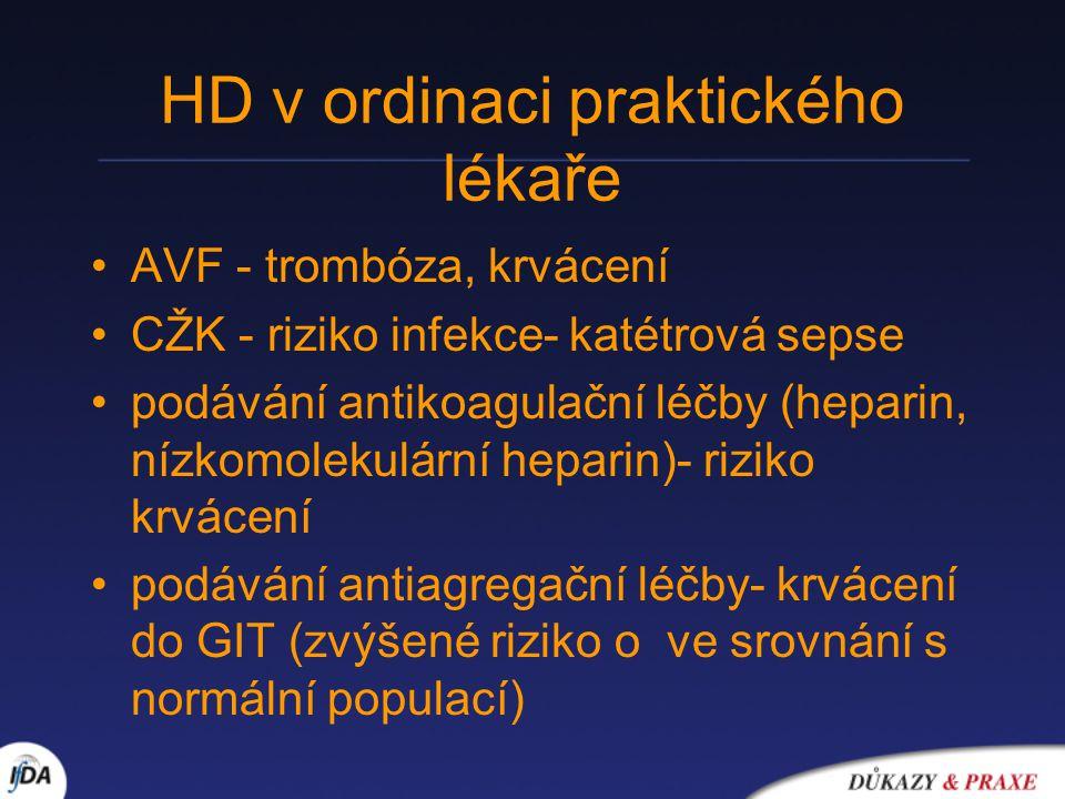 HD v ordinaci praktického lékaře AVF - trombóza, krvácení CŽK - riziko infekce- katétrová sepse podávání antikoagulační léčby (heparin, nízkomolekulární heparin)- riziko krvácení podávání antiagregační léčby- krvácení do GIT (zvýšené riziko o ve srovnání s normální populací)