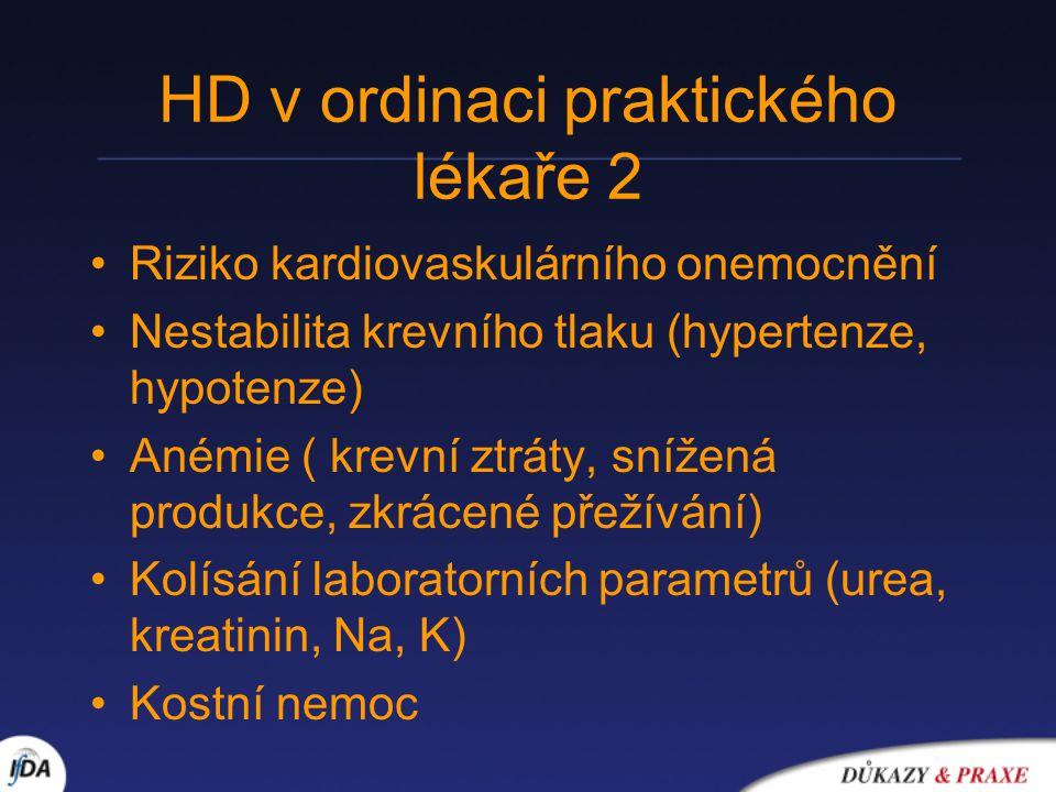 HD v ordinaci praktického lékaře 2 Riziko kardiovaskulárního onemocnění Nestabilita krevního tlaku (hypertenze, hypotenze) Anémie ( krevní ztráty, snížená produkce, zkrácené přežívání) Kolísání laboratorních parametrů (urea, kreatinin, Na, K) Kostní nemoc