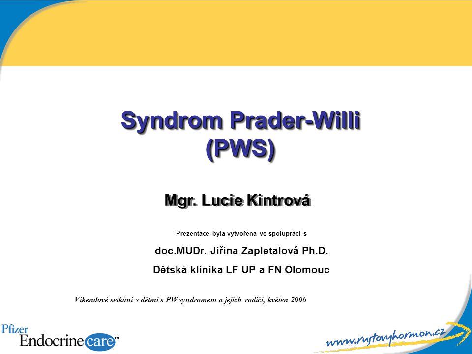 Syndrom Prader-Willi (PWS) Prezentace byla vytvořena ve spolupráci s doc.MUDr. Jiřina Zapletalová Ph.D. Dětská klinika LF UP a FN Olomouc Víkendové se