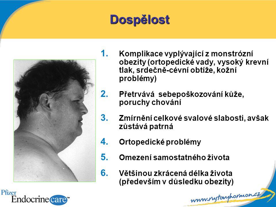 1. Komplikace vyplývající z monstrózní obezity (ortopedické vady, vysoký krevní tlak, srdečně-cévní obtíže, kožní problémy) 2. Přetrvává sebepoškozová
