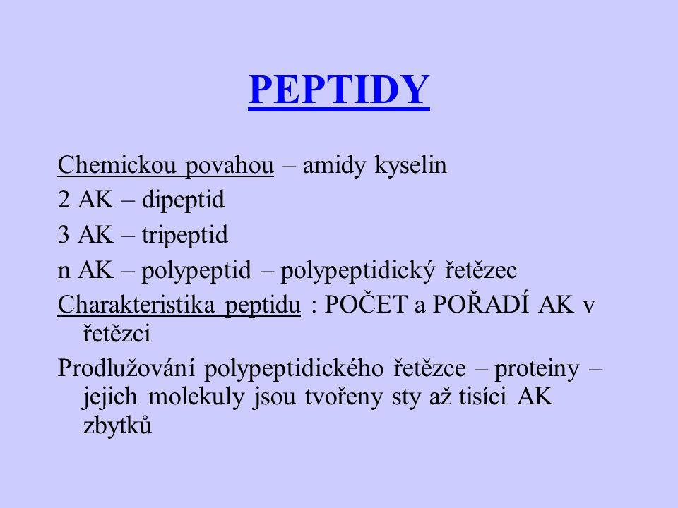 PEPTIDY Chemickou povahou – amidy kyselin 2 AK – dipeptid 3 AK – tripeptid n AK – polypeptid – polypeptidický řetězec Charakteristika peptidu : POČET a POŘADÍ AK v řetězci Prodlužování polypeptidického řetězce – proteiny – jejich molekuly jsou tvořeny sty až tisíci AK zbytků