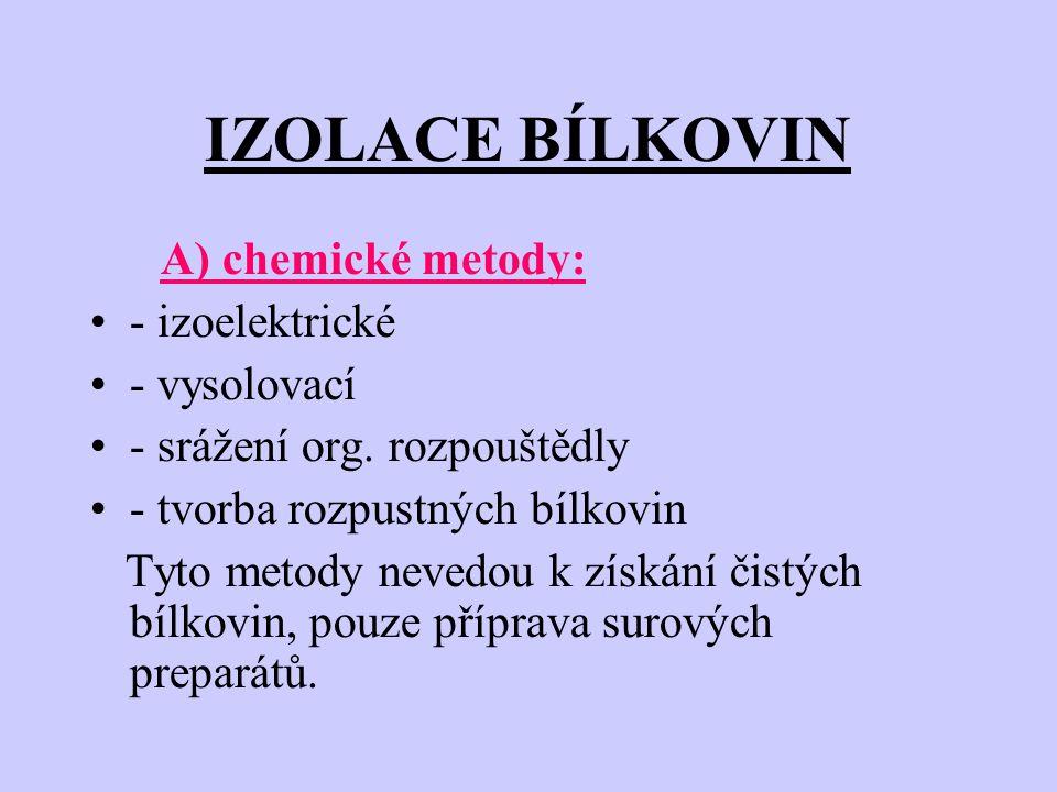 IZOLACE BÍLKOVIN A) chemické metody: - izoelektrické - vysolovací - srážení org.