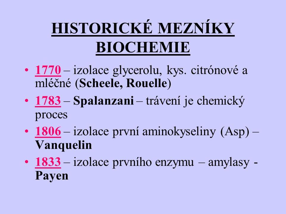 HISTORICKÉ MEZNÍKY BIOCHEMIE 1770 – izolace glycerolu, kys.