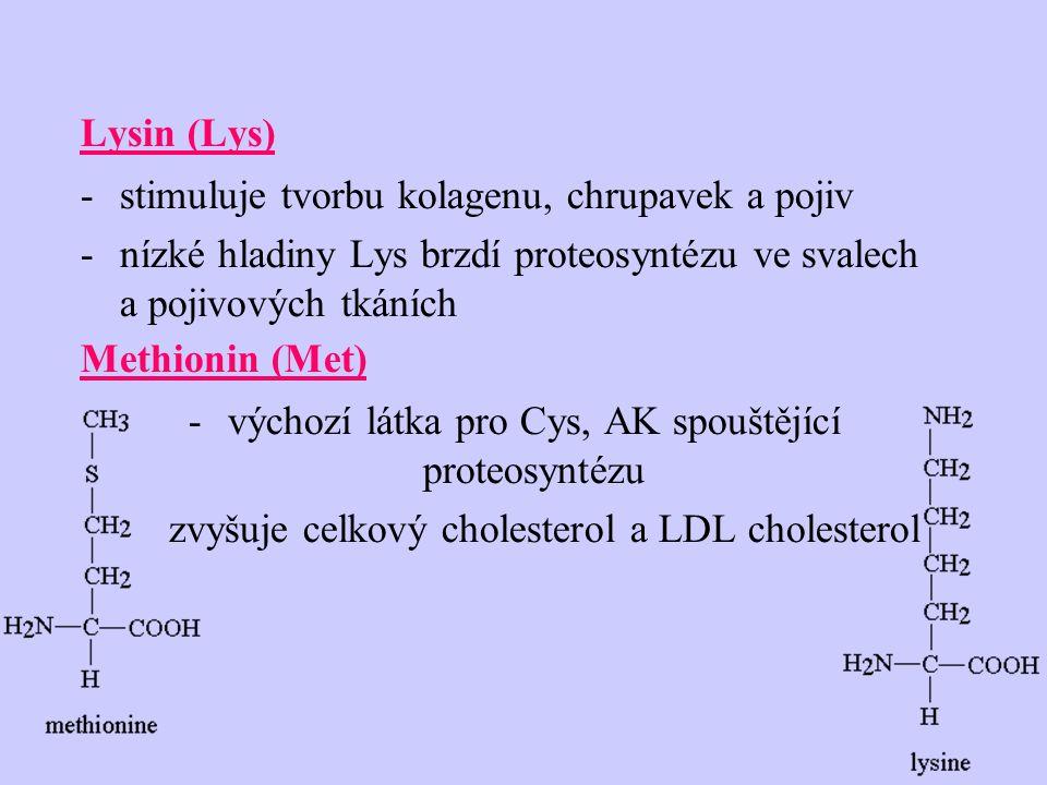 Lysin (Lys) -stimuluje tvorbu kolagenu, chrupavek a pojiv -nízké hladiny Lys brzdí proteosyntézu ve svalech a pojivových tkáních Methionin (Met) -výchozí látka pro Cys, AK spouštějící proteosyntézu zvyšuje celkový cholesterol a LDL cholesterol