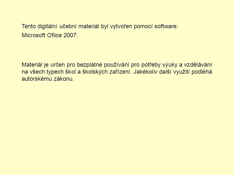 Tento digitální učební materiál byl vytvořen pomocí software: Microsoft Ofiice 2007. Materiál je určen pro bezplatné používání pro potřeby výuky a vzd