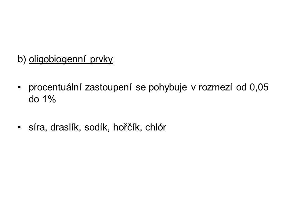 b) oligobiogenní prvky procentuální zastoupení se pohybuje v rozmezí od 0,05 do 1% síra, draslík, sodík, hořčík, chlór