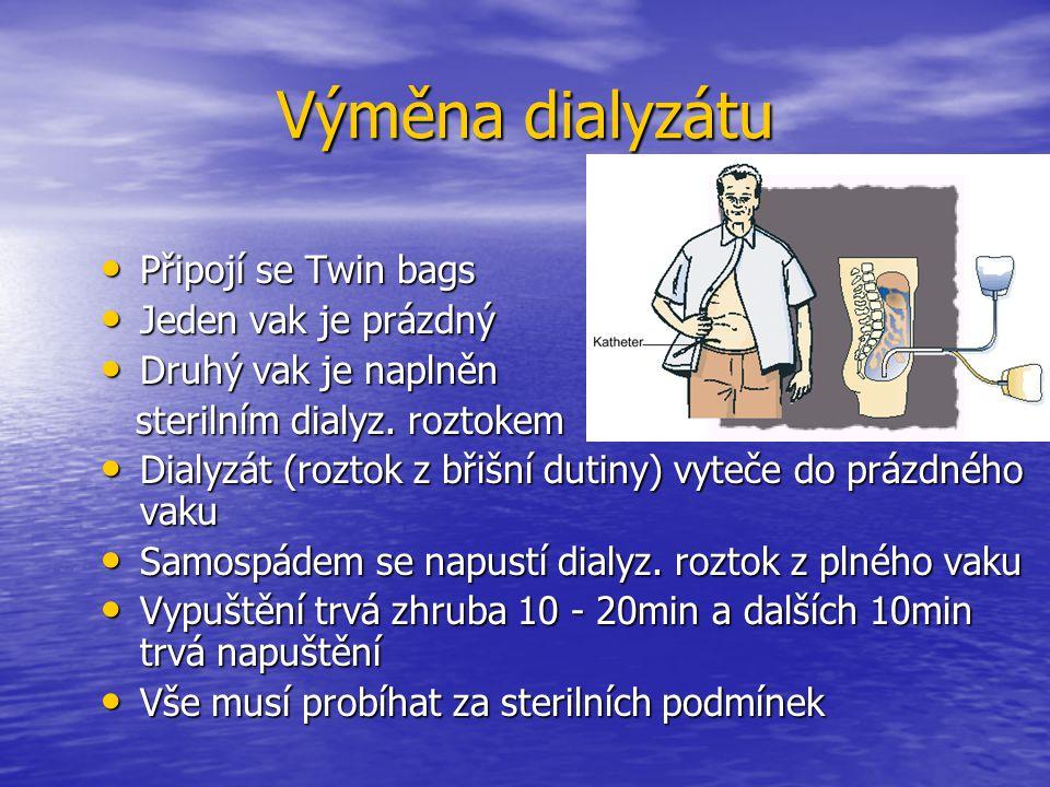 Výměna dialyzátu Připojí se Twin bags Připojí se Twin bags Jeden vak je prázdný Jeden vak je prázdný Druhý vak je naplněn Druhý vak je naplněn steriln