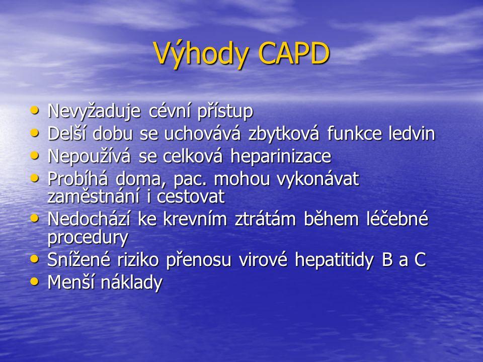 Nevýhody CAPD Riziko peritonitidy a poškození peritonea Riziko peritonitidy a poškození peritonea Zhoršení krevních tuků (nárůst hmotnosti, objevení se cukrovky) Zhoršení krevních tuků (nárůst hmotnosti, objevení se cukrovky) Omezená možnost koupání (sprchování, koupaní jen v moři) Omezená možnost koupání (sprchování, koupaní jen v moři) Psychická zátěž (každodenní provádění) Psychická zátěž (každodenní provádění) Nejisté dlouhodobé zajištění funkčnosti perit.