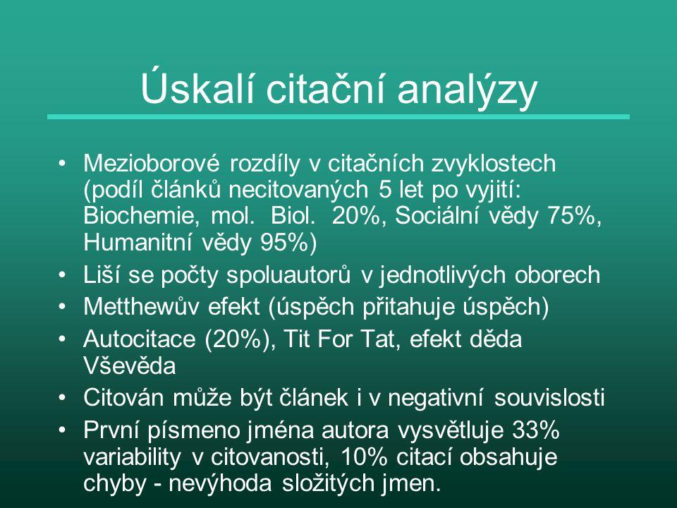 Úskalí citační analýzy Mezioborové rozdíly v citačních zvyklostech (podíl článků necitovaných 5 let po vyjití: Biochemie, mol. Biol. 20%, Sociální věd